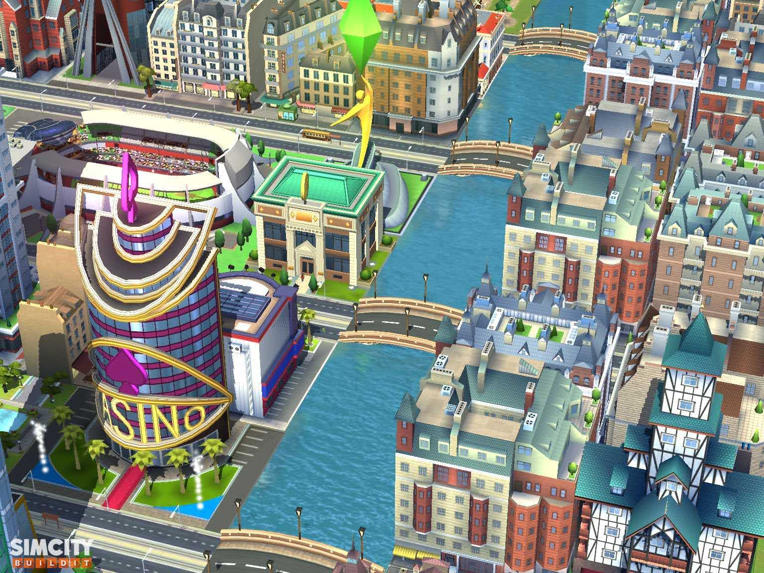 The House of Spades Casino, SimCity Bank, Track and Field Stadium and Ultimate Mayor Statue