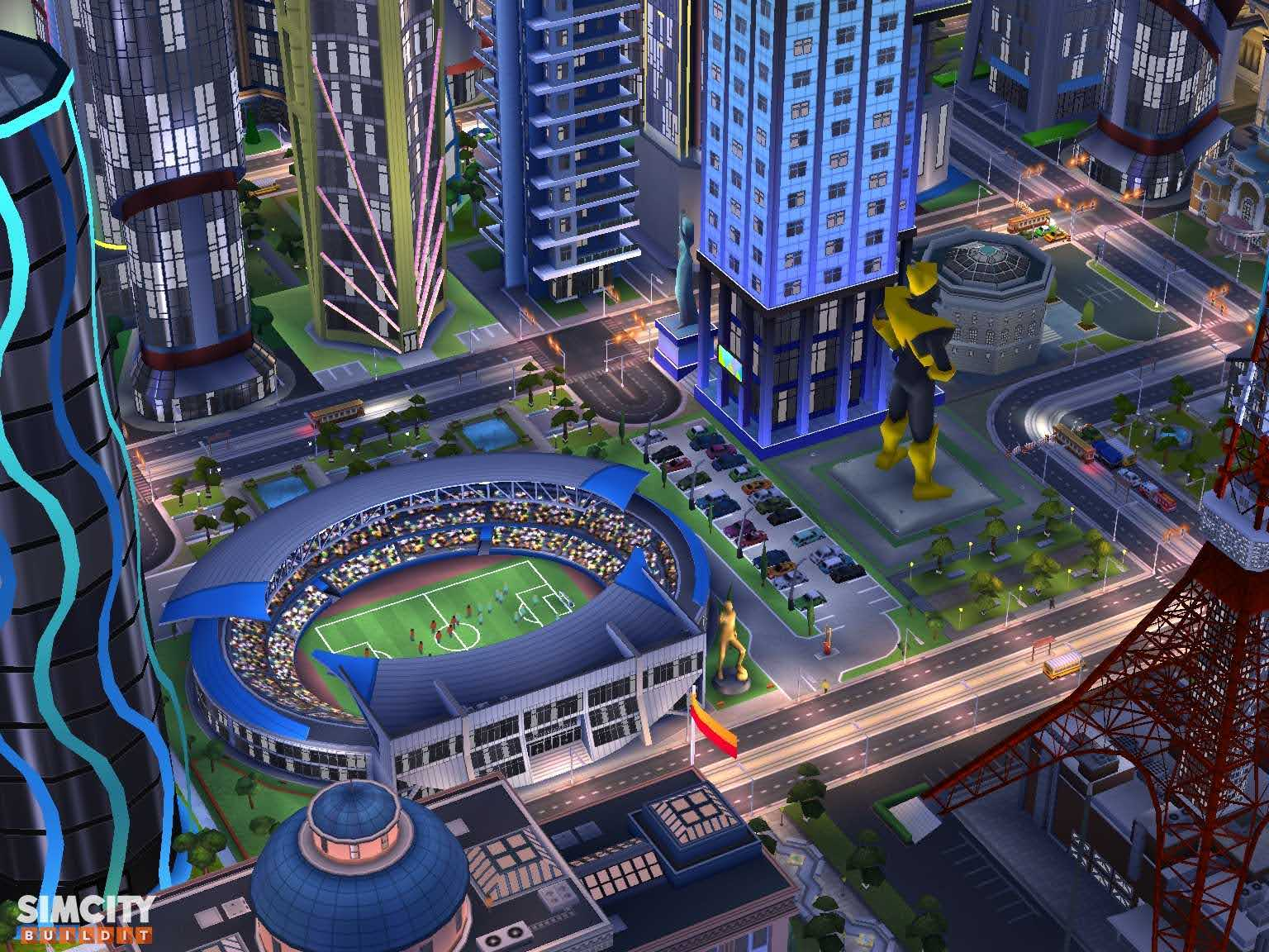 Soccer Stadium and MaxisMan Statue
